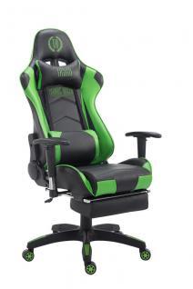 Bürostuhl 150 belastbar schwarz grün Kunstleder Chefsessel Kopfstütze Fußstütze