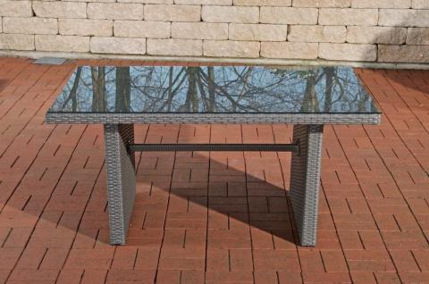 Tisch grau Gartentisch Outdoor Garten Rattan Sofa-Tisch Rattantisch Glastisch - Vorschau 2