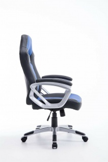 XL Bürostuhl 180kg belastbar schwarz blau Kunstleder Chefsessel schwere Personen - Vorschau 3