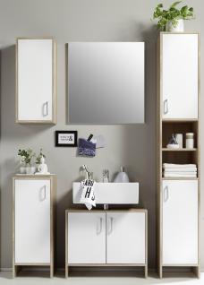 Badezimmer Set 5 teilig Badset Eiche Sonoma weiß Schrank Spiegel Unterschrank