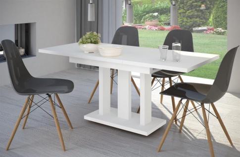 SONDERANGEBOT Säulentisch Weiß Matt Auszug Ausziehbar Esstisch Modern Design