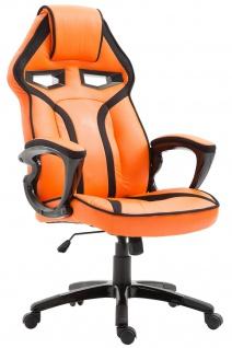 Bürostuhl 115kg belastbar orange Kunstleder Chefsessel sportlich modern design