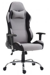 XL Bürostuhl 136 kg belastbar Stoff schwarz grau Chefsessel Gamer Zocker robust