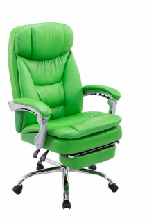 Bürostuhl Kunstleder grün Fußablage Chefsessel 160kg belastbar Drehstuhl stabil