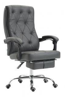 Chefsessel 136 kg belastbar grau Kunstleder Bürostuhl Fußablage modern design