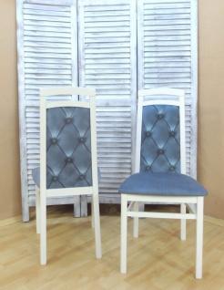 2 x Stühle weiß eisblau massivholz Stuhlset Esszimmerstühle modern design Stuhl