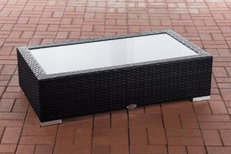 Tisch grau 110x60cm Gartentisch Loungetisch Rattantisch Glastisch flach Outdoor