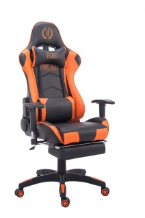 Bürostuhl bis 150 kg belastbar schwarz orange Kunstleder Chefsessel Fußstütze