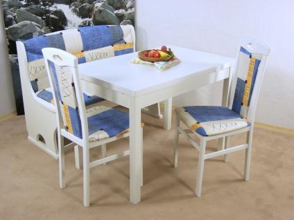 Essgruppe 4-tlg. Esstisch-Ausziehbar Truhenbank Sitzbank Sitzgruppe weiß blau