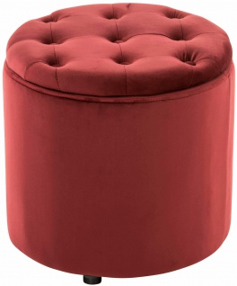 Sitzhocker Samt rot Polsterhocker mit Stauraum Fußhocker rund modern design
