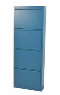 Metall-Schuhschrank blau 4 Klappen Schuhkipper Schuhregal modern design NEU