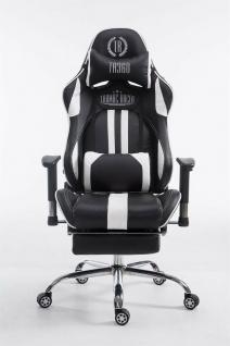 Chefsessel schwarz / weiß Kunstleder Drehstuhl Computerstuhl Schreibtischstuhl