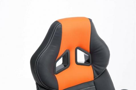 XL Bürostuhl 150 kg belastbar schwarz orange Kunstleder Chefsessel hochwertig - Vorschau 5