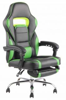 Bürostuhl 136kg belastbar schwarz grün Kunstleder Chefsessel Fußablage Stütze