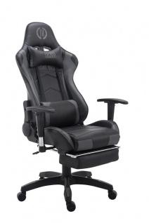 Bürostuhl 150 belastbar schwarz grau Kunstleder Chefsessel Fußstütze Kopfstütze