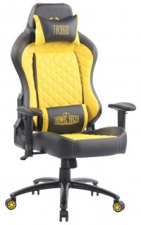 XL Bürostuhl 150 kg belastbar schwarz gelb Kunstleder Chefsessel Gamer Zocker