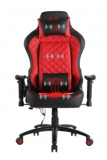 Chefsessel rot Kunstleder Bürostuhl mit Wärme/Massage Gaming Gamer Zockersessel