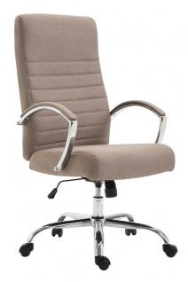 XL Bürostuhl bis 136 kg belastbar Stoffbezug taupe Chefsessel hochwertig design