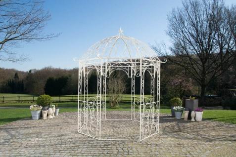 Pavillon Eisen antik creme Rankhilfe stabil Pergola Rosenbogen Rankgitter Garten