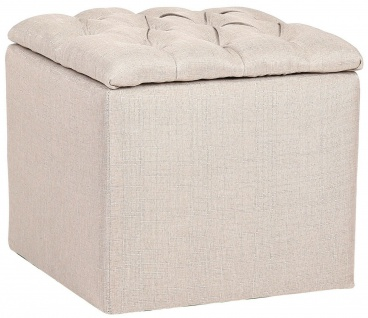 Sitzhocker Stoff creme Polsterhocker Aufbewahrungsbox Sitzwürfel modern design