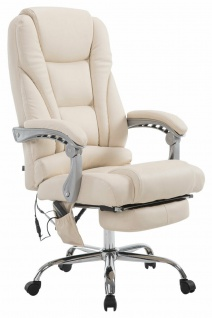 XXL Bürostuhl 150 kg belastbar creme Kunstleder Chefsessel Massagefunktion NEU