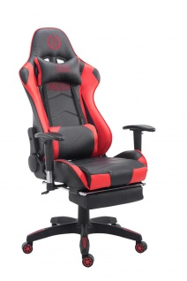Bürostuhl 150 belastbar schwarz rot Kunstleder Chefsessel Fußstütze Kopfstütze