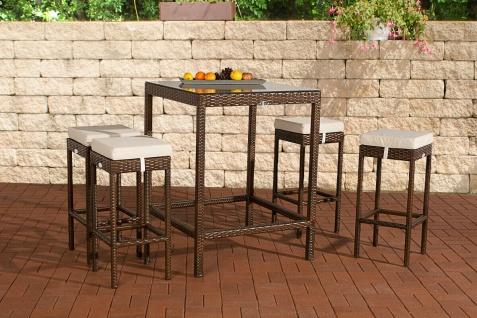 Polyrattan Gartenbar braun Bar-Set Essgruppe Gartengarnitur Barhocker Tisch