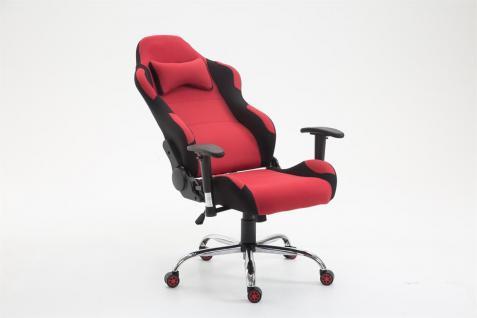 XL Bürostuhl 136 kg belastbar Stoff schwarz rot Chefsessel Gamer Zocker robust - Vorschau 4