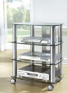 moderner Hifi-Turm chrom design Audioturm Glas Tv Rack Hifi-Tisch Rollen rollbar