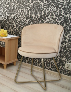 2x Polsterstühle ecru/gold Samtbezug Esszimmerstühle Stuhlset modern design