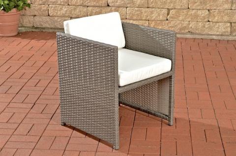 Polyrattan Gartenstuhl grau inkl. Kissen Auflage Lounge Garten Terrasse