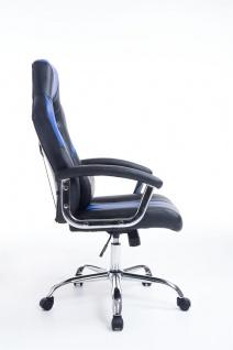 Bürostuhl 150 kg belastbar schwarz blau Kunstleder Chefsessel schwere Personen - Vorschau 3