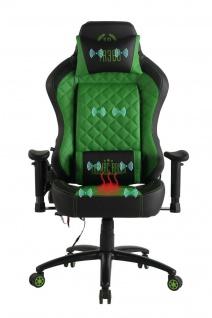 Chefsessel grün Kunstleder Bürostuhl Wärme/Massage Gaming Gamer Zockersessel