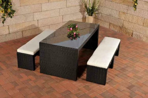 Polyrattan Gartenbar schwarz Sitzgruppe Essgruppe Gartengarnitur Sitzbänke Tisch
