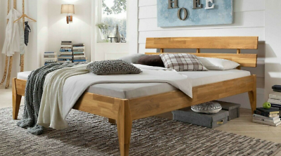 Komfortbett 140 x 200 cm Eiche massivholz geölt Bett Einzelbett Seniorenbett NEU
