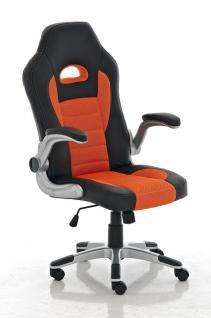 Bürostuhl schwarz orange Netzbezug Kunstleder Drehstuhl günstig preiswert stabil