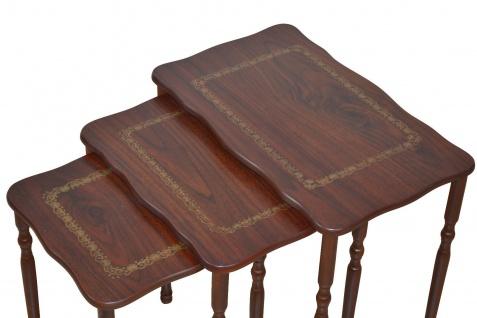 3er Beistelltisch nußbaum gold Dreisatztisch Beitisch Holz antik design günstig