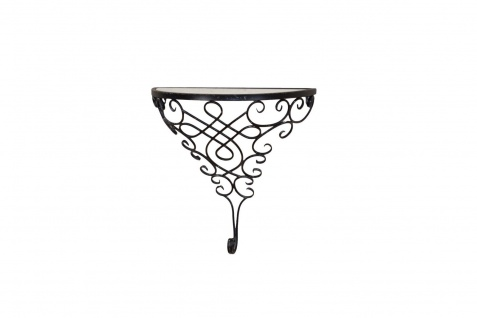 Metall Konsole antik schwarz halbrund Regal Wandregal Glas Verzierung Ablage neu - Vorschau