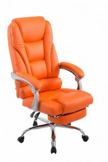 XXL Bürostuhl 150 kg belastbar orange Kunstleder Chefsessel Fußablage Drehstuhl