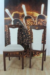 2x Stuhl massivholz nuss dunkel creme Esszimmerstühle 2er Stuhlset modern design