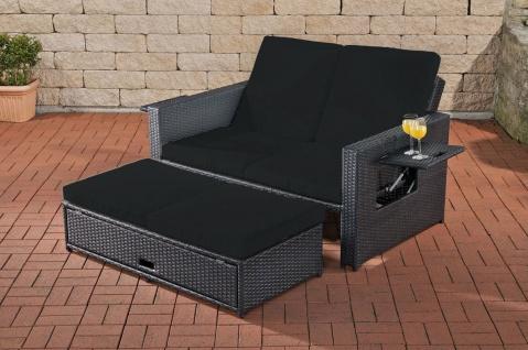 Poly-Rattan 2er Lounge-Sofa anthrazit Gartensofa Couch Lounge Terrasse Outdoor