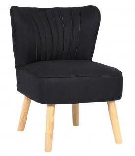 Lounger Stoff schwarz Sessel Retro-Stil Vintage Loungesessel Holzbeine NEU