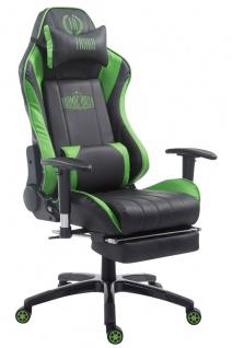 XL Bürostuhl 150kg belastbar schwarz grün Chefsessel Fußablage Zocker Gamer