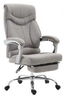Chefsessel bis 136 kg belastbar hellgrau Bürostuhl Stoffbezug modern design neu