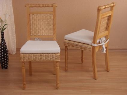 2 x Rattanstühle beige massivholz inkl. Kissen Esszimmerstühle Rattan modern