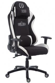 Chefsessel 150 kg belastbar schwarz weiß Stoff Bürostuhl Gaming Zocker Gamer