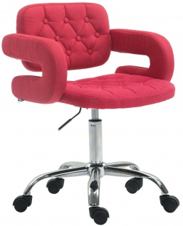 Bürostuhl rot Stoffbezug Drehstuhl Arbeitshocker modern design stabil Drehsessel