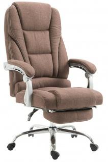 Bürostuhl Stoff braun mit Fußablage Chefsessel 150 kg belastbar Drehstuhl stabil