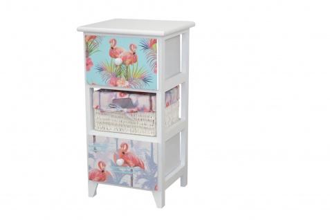 Kommode 3 Schubkästen Flamingo massivholz weiß Anrichte Standregal romantisch