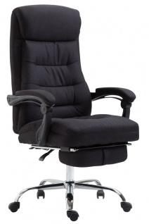 Chefsessel belastbar 136 kg Stoffbezug schwarz Bürostuhl klassisch Fußablage - Vorschau 1